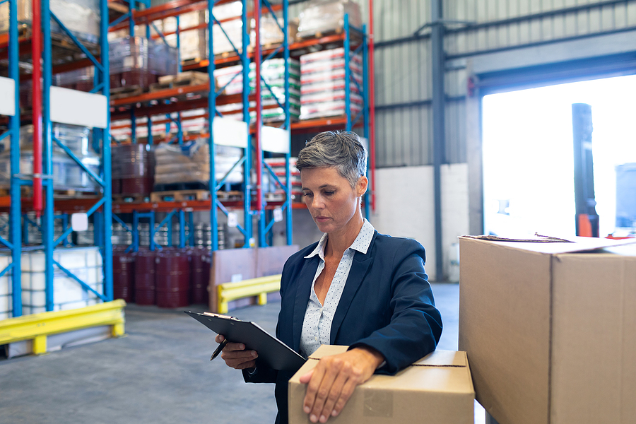 View of a female manager inside a 3PL warehouse