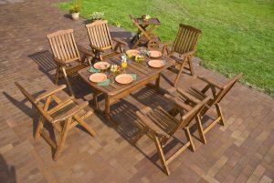 Garden with teak dining furniture