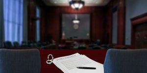 Divorce papers inside a courtroom