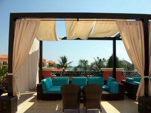 Outdoor patio with teak furniture