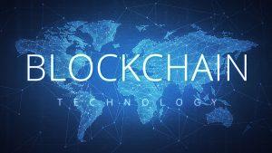 Blockchain Technology wording on futuristic hud background